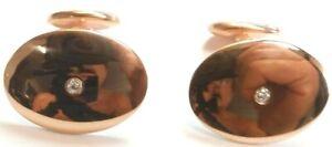 "Art Deco Antique Vintage Diamond Cufflinks 14K Rose Gold .79""x.60"" .06 CtTW Fine"