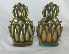 "Vintage Pair Solid Brass Pineapple Bookends 6"" Home Decor made in england"