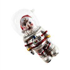 "OUTER SPACE SANTA GLASS CHRISTMAS ORNAMENT 5.5"" Retro Sci-Fi Astronaut NEW Tree"