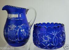 VINTAGE COBALT BLUE CUT CLEAR PINWHEEL FLOWER SUGAR BOWL & CREAMER SET