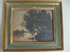 Louis Rheiner 1863-1924 - Peinture huile sur bois - Clair de lune - École suisse