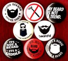 BEARD 8 NEW 1 inch pins buttons badges culture ride a heart love grow