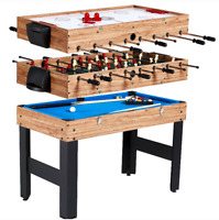 "48"" 3-In-1 Multi Combo Game Table Family Foosball Soccer Billiards Pool Hockey"