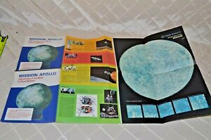 1969 Rand McNally Official Map of the Moon MissionApollo 8-11 Clark Oil Souvenir