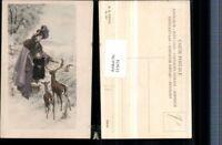315674,M. Munk Vienne 295 Künstlerkarte Frau Mutter m. Kind Hut Tasche Reh Hirsc