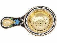 Russian Silver Gilt and Polychrome Cloisonne Enamel Tea Strainer 1970s