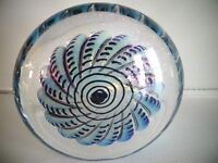 Signed EICKHOLT Studio Glass MAGNUM SHELL Dichroic DISC PAPERWEIGHT DNA 1992