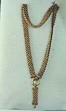 VICTORIAN ANTIQUE PANTHER LINK BOOK CHAIN NECKLACE 14K GOLD CLASP