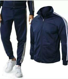 Tuta Sportiva Uomo ACETATA giacca con CERNIERA + Pantaloni tuta casual sport