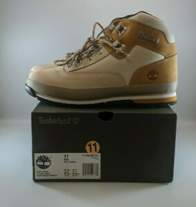 Timberland Mens Euro Hiker Leather Boots Size 11 Light Beige Nubuck TB 0A2JFN269