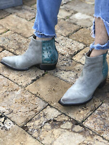 Freebird By Steven Rule Boot Grey And Turquoise Croc  SZ 9 TTS NIB RARE