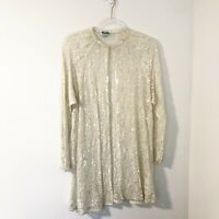 Vintage Ivory Lace Sequin Beaded Embellished Duster Women's Size Medium