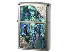 Zippo Oil Lighter Western Design Shell Paste Silver Blue 2SW-SHELL Brass Japan