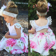 Summer Toddler Kids Baby Girl Lace Floral Party Princess Dress Sundress Headband 2-3 Years
