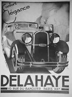 PUBLICITÉ DE PRESSE 1933 AUTOMOBILE DELAHAYE CONFORT ÉLÉGANCE - G.RONDEAU