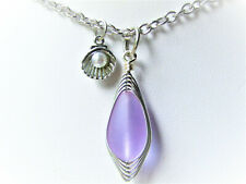 Purple SEA GLASS Teardrop Silver Clam Shell Pendant Chain Necklace USA HANDMADE