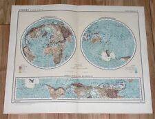 1926 ORIGINAL VINTAGE MAP OF THE WORLD GLOBES HEMISPHERES AMERICA AFRICA EUROPE