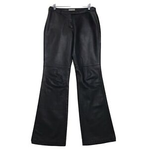 """Hugo Buscati Collection Black Leather Pants Womens Sz 8 Tall 8T Lined 33.5"""" L"""