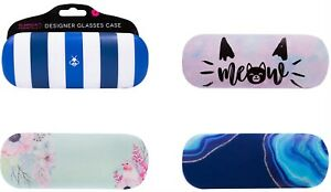Stylish Ladies Designer Hard Shell Lined Glasses case 4 Assorted By 4 Square NEW