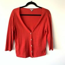 Women's J.Jill Burnt Orange Long Sleeve Cardigan 100% Cotton Size Medium