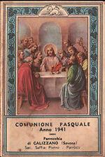 SANTINO COMUNIONE PASQUALE 1941 PARROCCHIA DI CALIZZANO 11-15