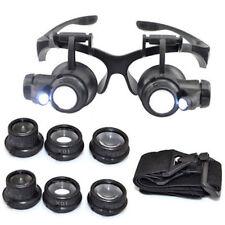 Occhiali Lente Ingrandimento Riparazione Lavori di Precisione 4 Lenti Luci LED