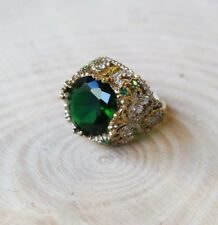 Turkish Handmade Jewelry Sterling Silver 925 Emerald ring 6-9