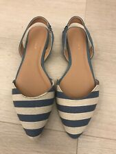New Look Blue & White Stripe Flat Pointy D'Orsay Sling Backs Size 4
