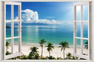 NEW Wall Beach Decal 3d Window View Decor Art Home Sticker Vinyl Stickers Mural