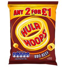 Full Box of 32 Bags 34g Hula Hoops BBQ Beef Crisps  2 for £1