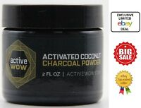 Active Wow Teeth Whitening Activated Coconut Charcoal Powder Natural 2oz / 59ml