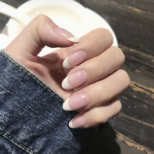 24Pcs Lady Women's Chic French Style DIY Manicure Art Tips Fake Nails with Glue