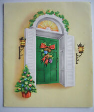 1940's Ornaments pine hanging on front door  CHRISTMAS VINTAGE GREETING CARD *C2