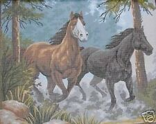 Two Galloping Horses Tapestry Needlepoint Canvas Black & Brown