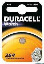 2 piles 364 Duracell - pile Oxyde d'argent SR60 equivalent AG1