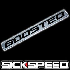 CHROME/BLACK METAL BOOSTED ENGINE RACE MOTOR SWAP BADGE FOR TRUNK HOOD DOOR