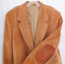 Pioneer Wear 44L Mens Western Blazer Jacket Tan Corduroy Leather Sleeve Patches