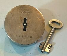 More details for antique heavy steel lock d.r patent protector 253452 with key