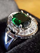 Emerald quartz cz 18ct white gold filled  gorgeous woman ring 8 us