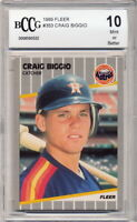 1989 Fleer Craig Biggio Rookie Card Graded BCCG 10