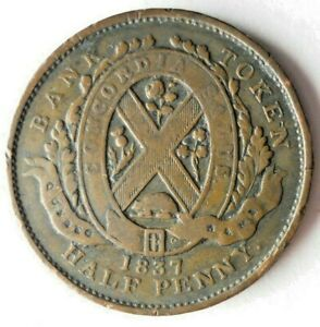 1837 LOWER CANADA 1/2 PENNY - Excellent SCARCE Date Type Coin - Lot #L27