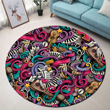 Doodles Colorful Musical Instrument Area Rug Bedroom Living Room Round Floor Mat