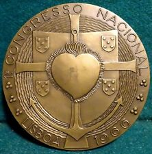 HEART, ANCHOR, CROSS - COAT OF ARMS / CROSS QUINAS 80mm 1966 BRONZE MEDAL