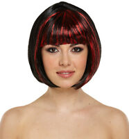 HALLOWEEN LADIES GIRLS BLACK RED SHORT BOB WIG HAIR FANCY DRESS OUTFIT ACCESSORY