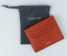 NWT TOM FORD Orange Smooth 100% Leather Open Side Card Holder Wallet $290