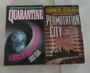 Greg Egan lot 1st 2 science fiction paperbacks in the Subjective Cosmology Cycle
