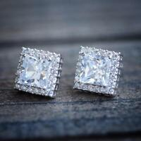 Mens Womens Square Cushion Cut White Gold Plated Lab Diamond Stud Earrings