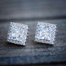 Gold Plated Lab Diamond Stud Earrings Mens Womens Square Cushion Cut White