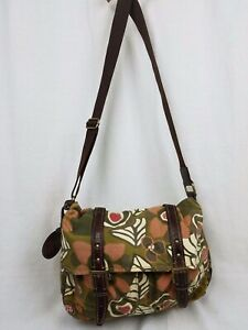FOSSIL Tote Style FS029 Handbag Crossbody Messenger Green Canvas Leather