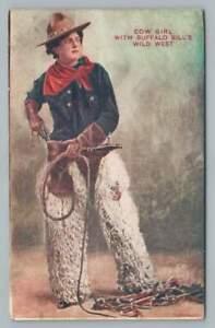 Cowgirl BUFFALO BILL'S WILD WEST Antique Sideshow Frontier Postcard UDB <1908